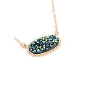 Blue/green druzy necklace/earrings set